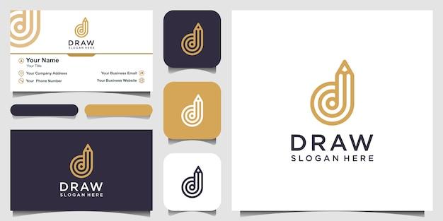 Letra d creativa con inspiración de logotipo de concepto de lápiz. y diseño de tarjetas de visita Vector Premium