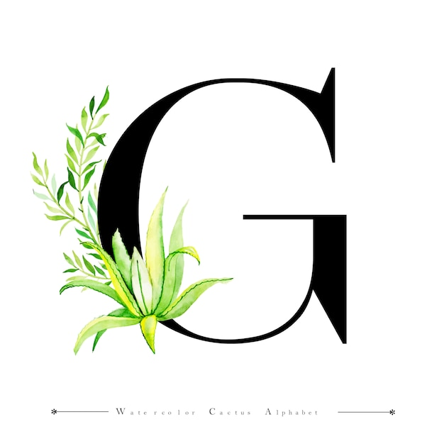 Letra del alfabeto g con cactus acuarela   Descargar Vectores Premium