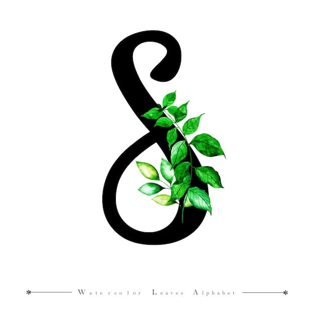 Letra del alfabeto s con fondo de hojas de acuarela | Descargar ...