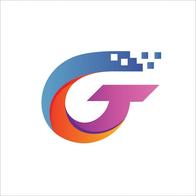 Letra g tech pixel logo vector Vector Premium