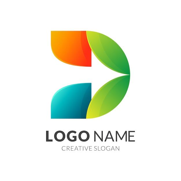 Letra inicial d con flecha + logo colorido Vector Premium