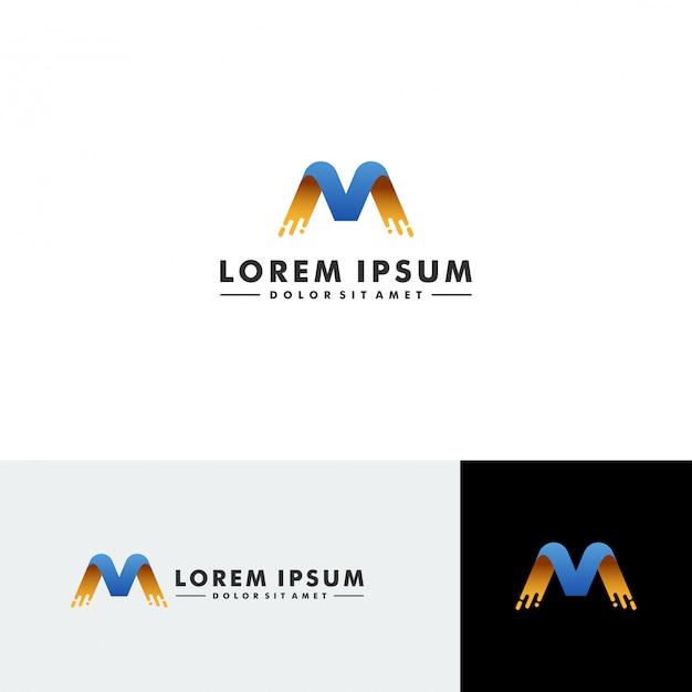 Letra m logo tecnología icono diseño vectorial Vector Premium
