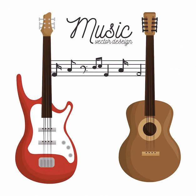 Letra de la música guitarra eléctrica y guitarra de madera fondo blanco. vector gratuito