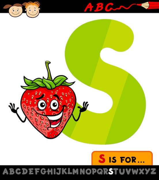 Letra S Con La Ilustración De Dibujos Animados De Fresa Descargar