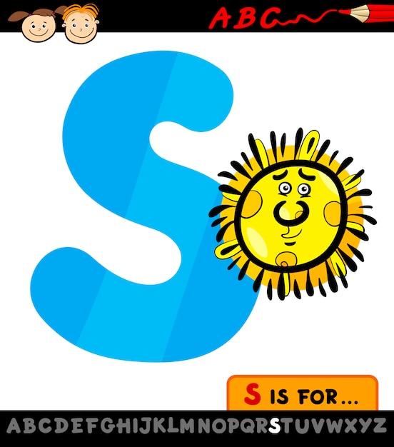 Letra S Con La Ilustración De Dibujos Animados De Sol Descargar