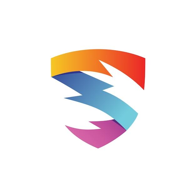 Letra s thunder shield logo vector Vector Premium