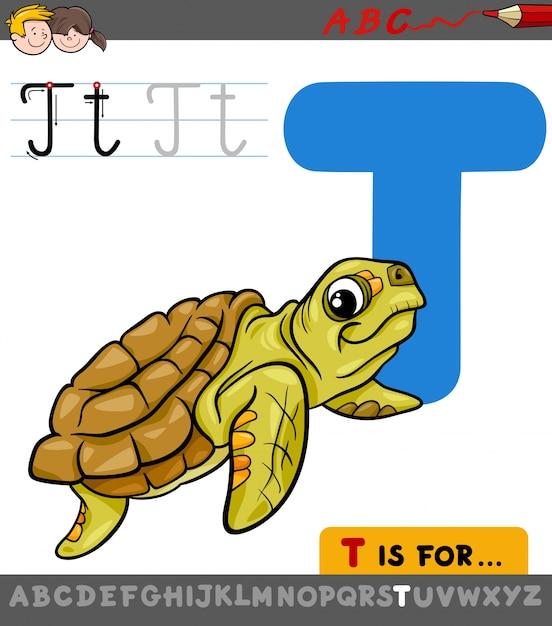 Letra T Con Dibujos Animados Tortuga Animal Descargar Vectores Premium