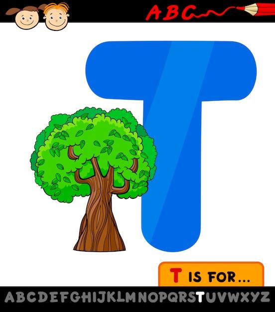 Letra T Con La Ilustración De Dibujos Animados De árbol