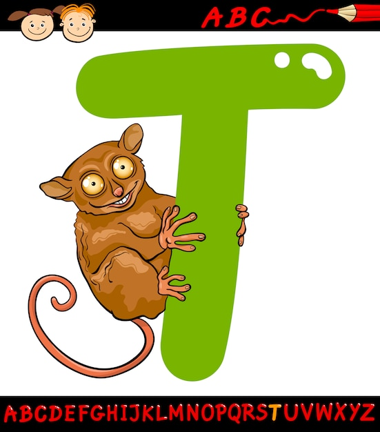 Letra T Para Ilustración De Dibujos Animados Tarsier