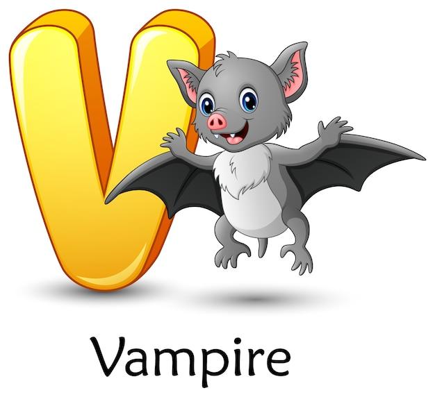 La Letra V Es Para El Alfabeto De Dibujos Animados De Murciélago