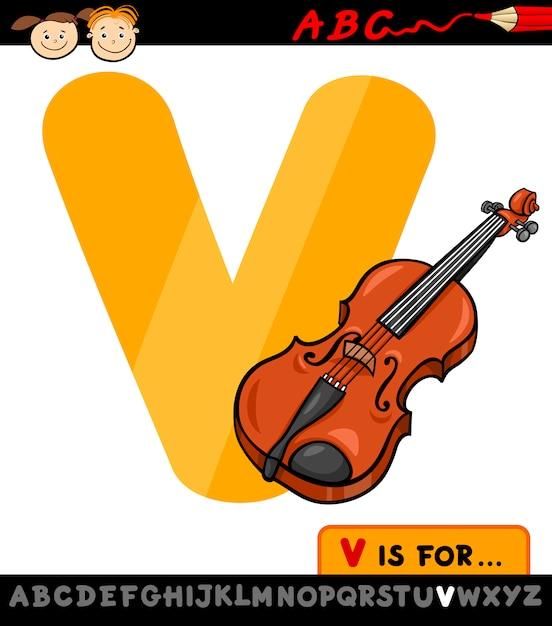 Letra V Con La Ilustración De Dibujos Animados De Violín Descargar