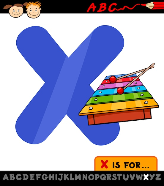Letra X Con La Ilustración De Dibujos Animados De Xilófono Vector Premium