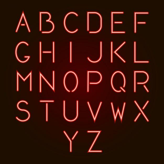 Letras de alfabeto de neón rojo brillante de la a a la z. Vector Premium