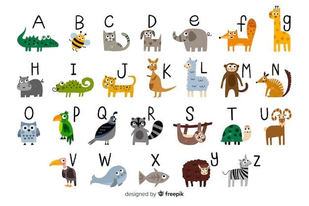 Letras del alfabeto zoológico de la a a la z vector gratuito