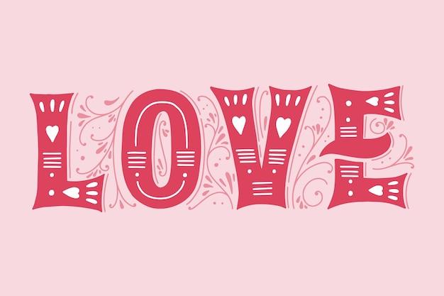 Letras de amor en concepto de estilo vintage vector gratuito