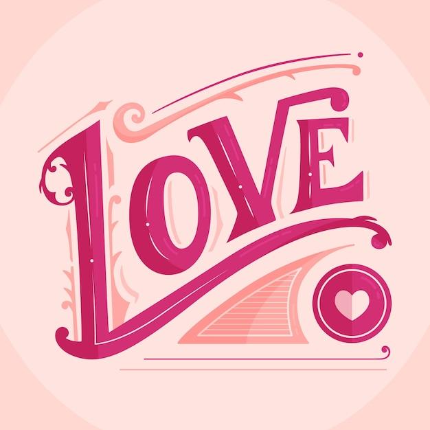 Letras de amor en estilo vintage sobre fondo rosa vector gratuito