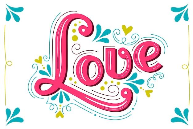 Letras de amor en estilo vintage Vector Premium