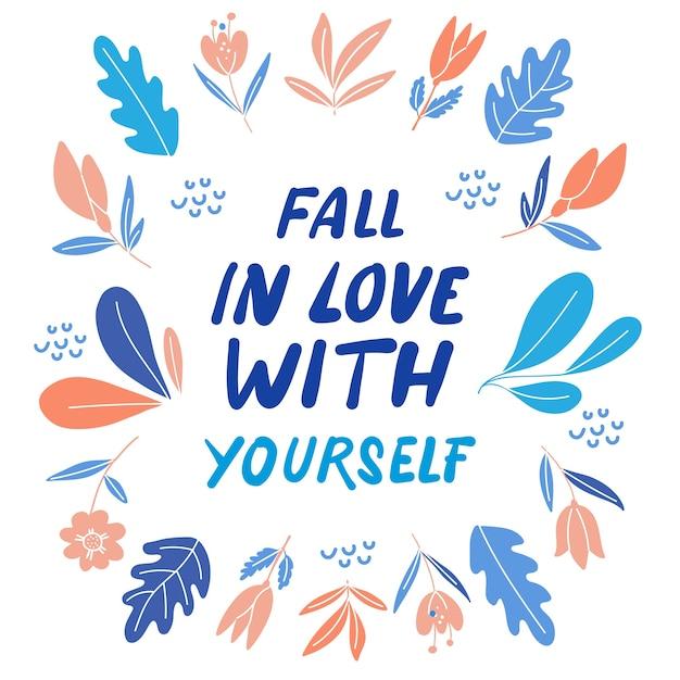 Letras de amor propio con flores vector gratuito