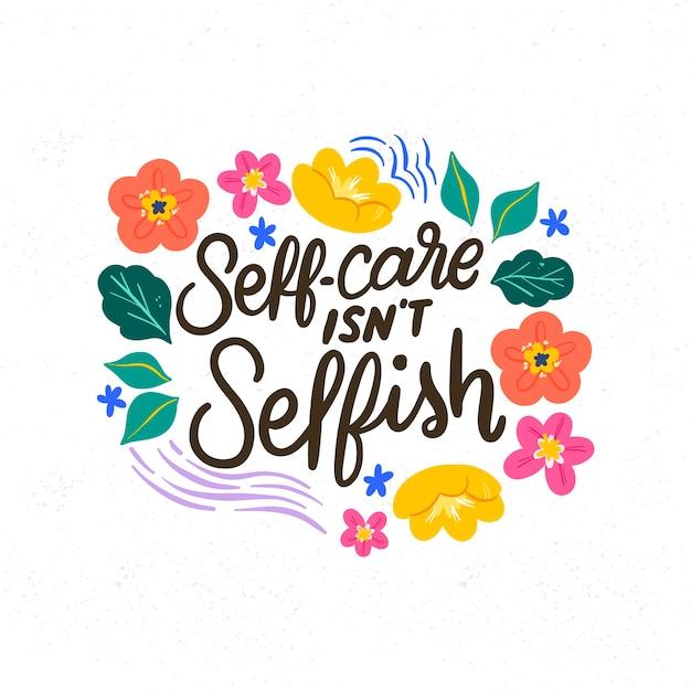 Letras de amor propio con fondo de flores vector gratuito