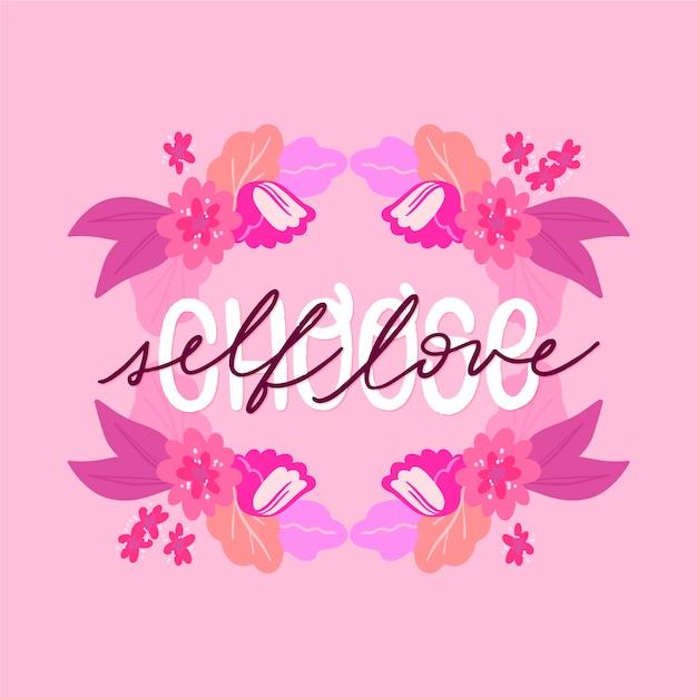 Letras de amor propio con papel tapiz de flores vector gratuito