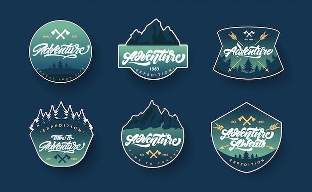 Letras de aventura establece logotipos o emblemas con degradado Vector Premium