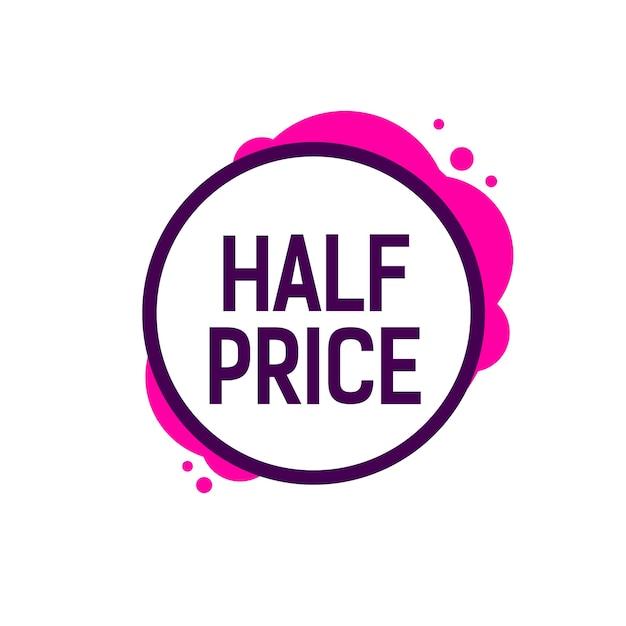 Letras de medio precio en marco redondo | Descargar Vectores Premium