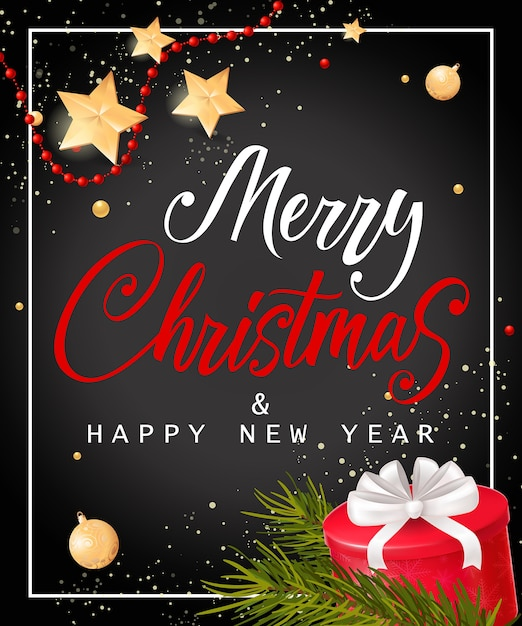 Letras de Navidad y año nuevo con caja de regalo Vector Gratis