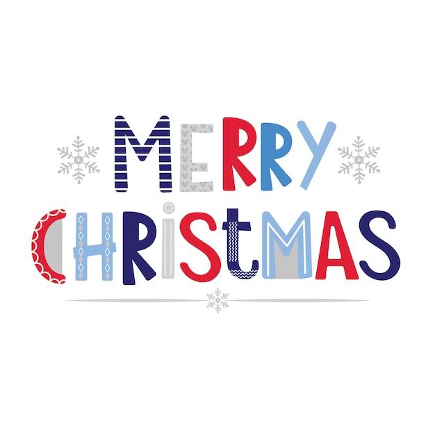 Letras decorativas de feliz navidad en blanco Vector Premium