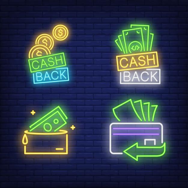 Letras de devolución de dinero, tarjeta de plástico, billeteras letreros de neón establecidos vector gratuito
