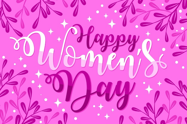 Letras del día internacional de la mujer dibujadas a mano Vector Premium