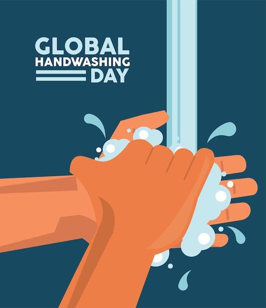 Letras del día mundial del lavado de manos con diseño de ilustración de vector de lavado de manos Vector Premium
