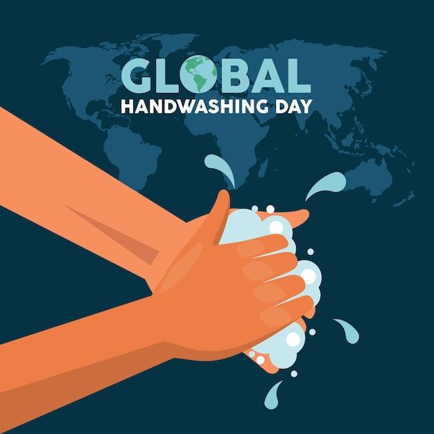 Letras del día mundial del lavado de manos con lavado de manos y mapas de la tierra, diseño de ilustraciones vectoriales Vector Premium