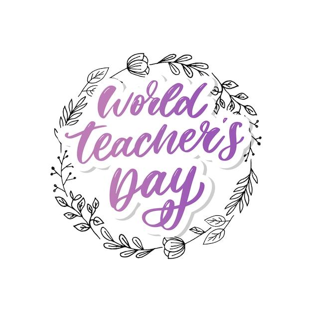Letras del día mundial del maestro Vector Premium