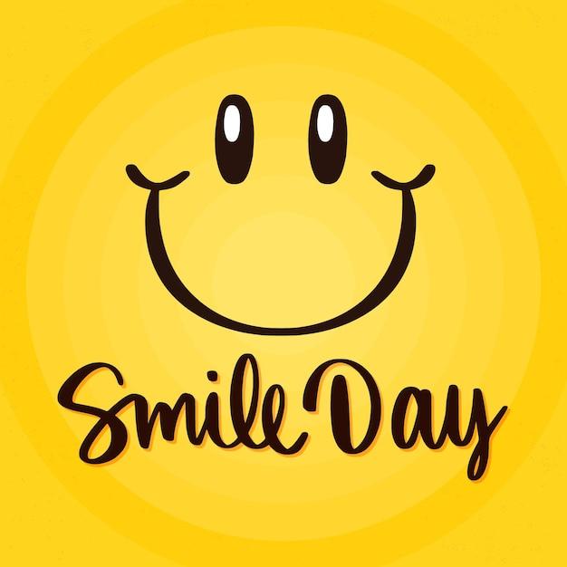 Letras del día mundial de la sonrisa con cara vector gratuito