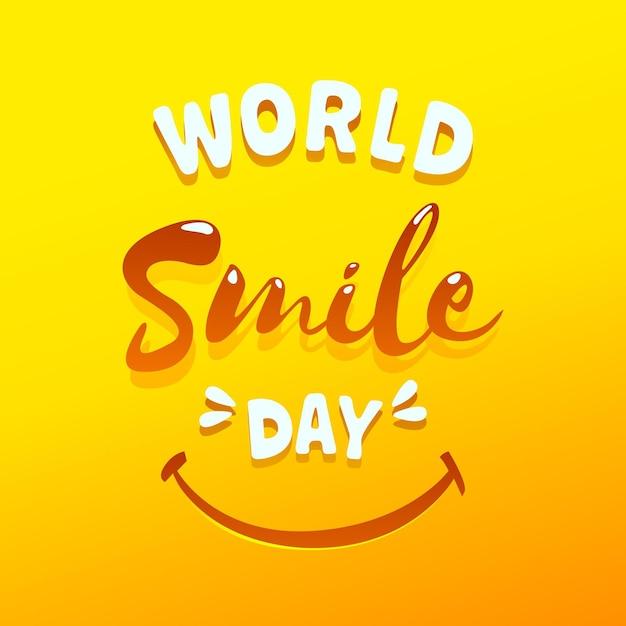 Letras del día mundial de la sonrisa Vector Premium