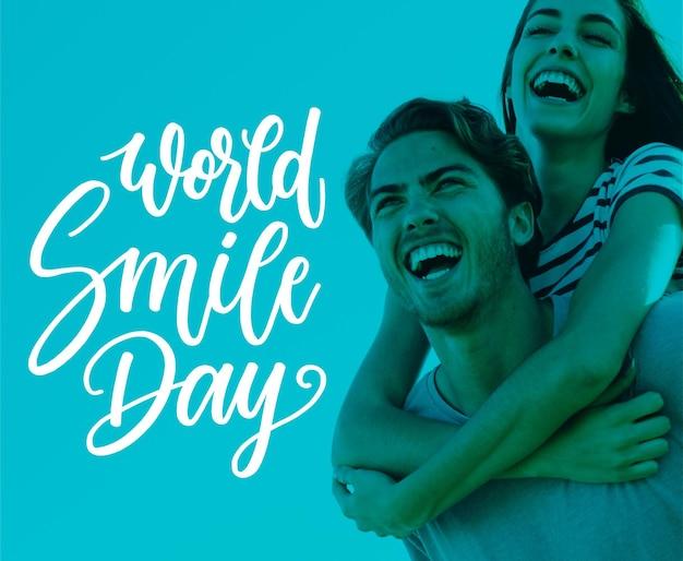 Letras del día mundial de la sonrisa vector gratuito