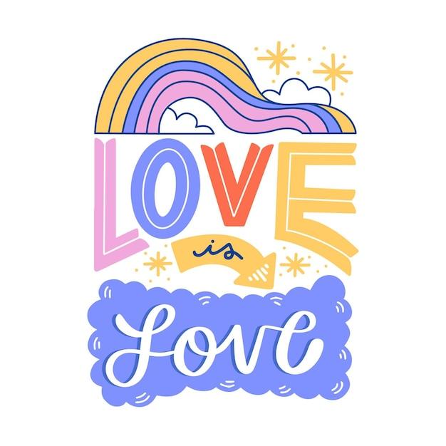 Letras del día del orgullo con amor vector gratuito