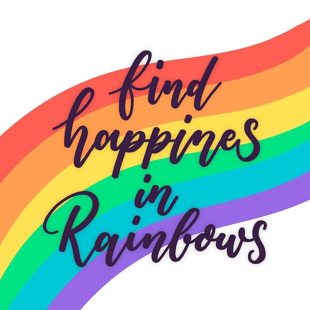 Letras del día del orgullo con colores del arco iris vector gratuito