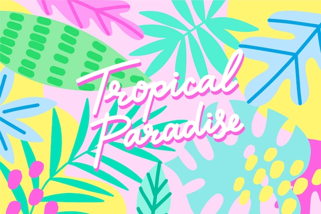 Letras de diseño tropical con hojas vector gratuito