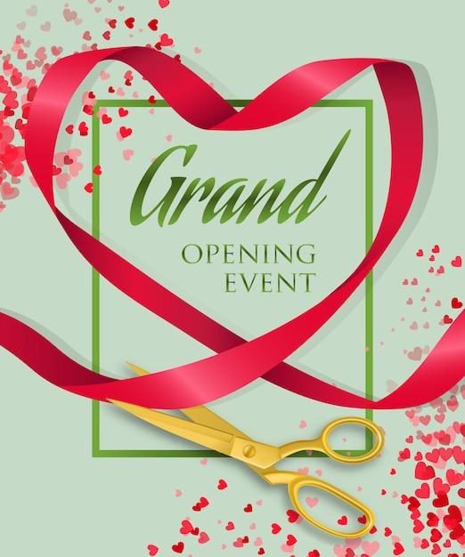 Letras de evento de gran inauguración con corazón de cinta vector gratuito