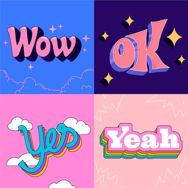 Letras de expresiones en estilo retro vector gratuito