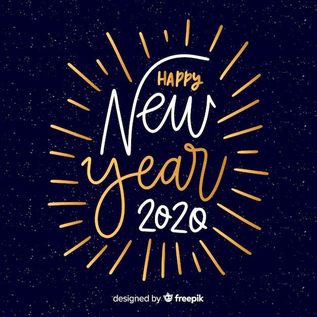 Letras feliz año nuevo 2020 en fuente de colores blanco y dorado vector gratuito