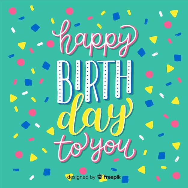 Letras de feliz cumpleaños con confeti vector gratuito