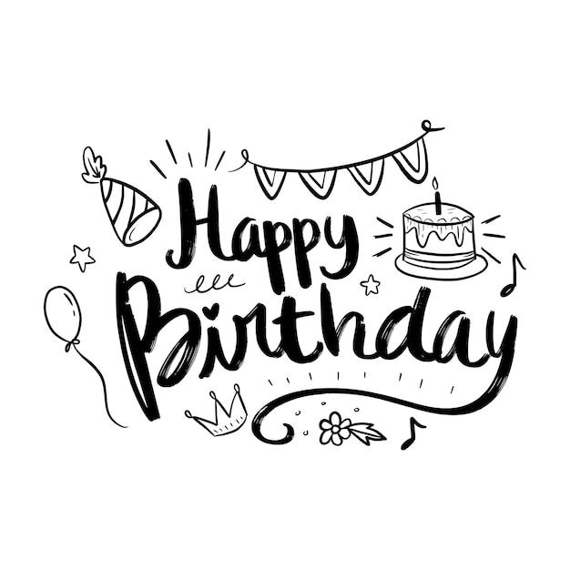 Letras de feliz cumpleaños con elementos de doodle Vector Premium