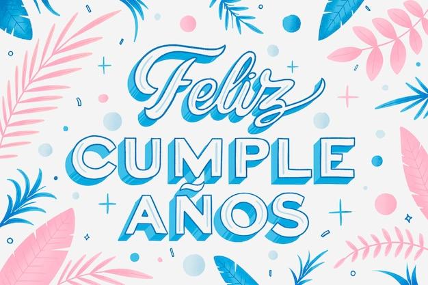 Letras de feliz cumpleaños en fondo español vector gratuito