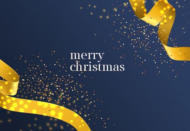 Letras de feliz navidad con cintas doradas. vector gratuito