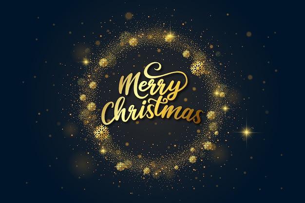 Letras de feliz navidad de lujo dorado vector gratuito
