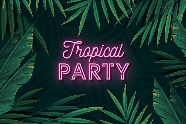 Letras de fiesta de neón tropical deja fondo vector gratuito