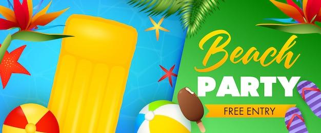 Letras de fiesta en la playa, balsa flotante y bolas inflables. vector gratuito