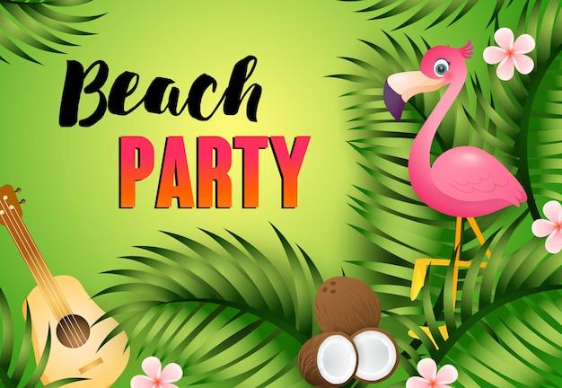 Letras fiesta de playa con ukelele, flamenco y coco. vector gratuito